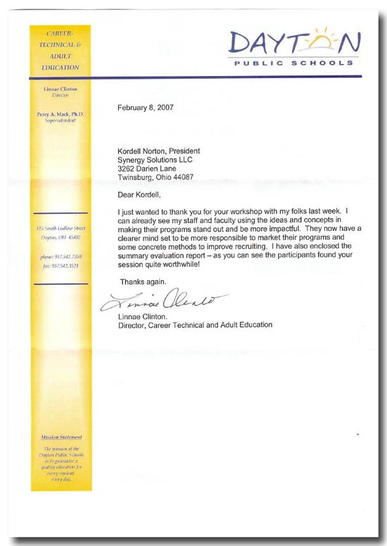 Reference Letter for Kordell Norton from Dayton City Schools