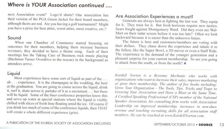 Kordell Norton article for the The Source Magazine 2013 - Where is YOUR Association - part 2