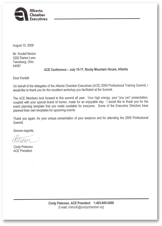 Kordell Norton – Reference Letter from the Alberta Chmber of Commerce Executives